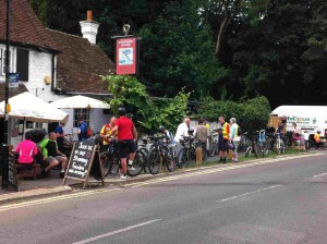 Cyclists gather at the Flying Fish for the bike rides