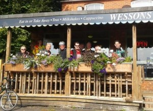 Cyclists at Wessons Cafe