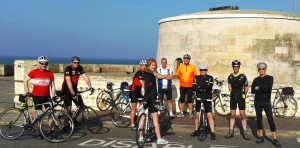 Cyclists at the Martello Tower