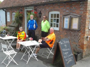 Cyclists at the Waldron Stores Cafe