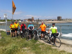 Cyclists at Littlehampton, on the Climping side of the river