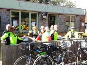 Cyclists at the café in Muddles Green