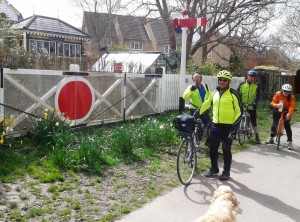 Cyclists at Frenches Halt on the Cuckoo Trail near Heathfield