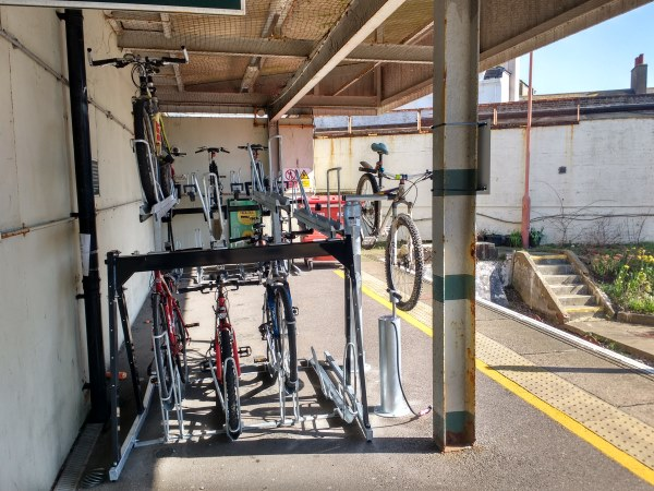 Cycle racks, pump and tools at the terminus end of the platform