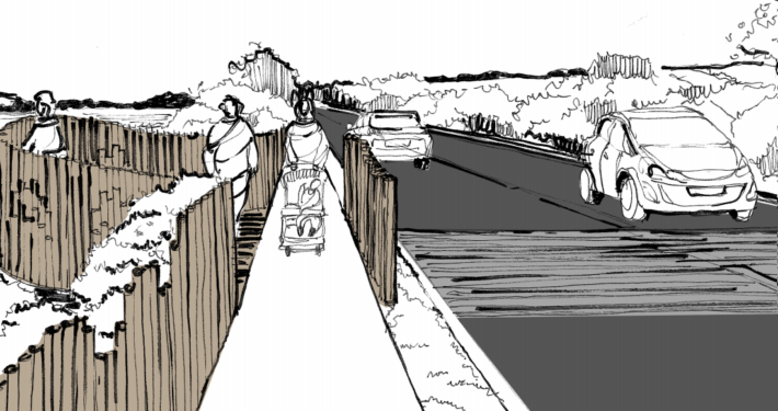 Artists impression of new Exceat Bridge.